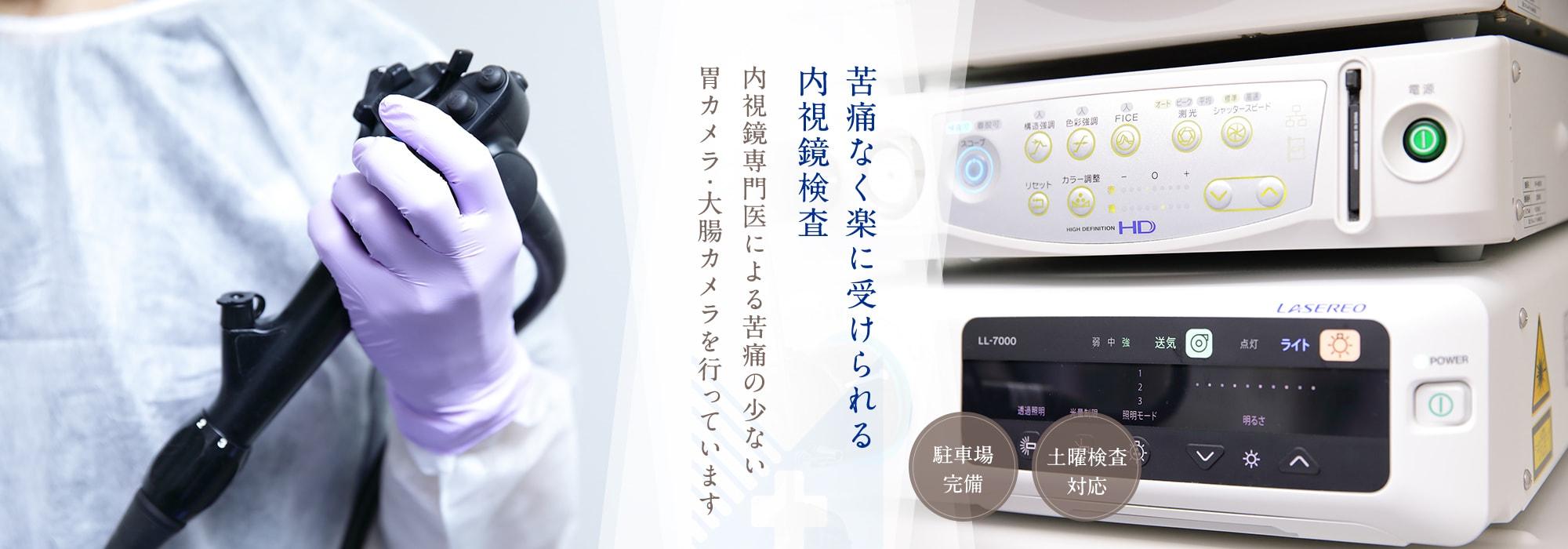 苦痛なく楽に受けられる内視鏡検査。内視鏡専門医による苦痛の少ない胃カメラ・大腸カメラを行っています